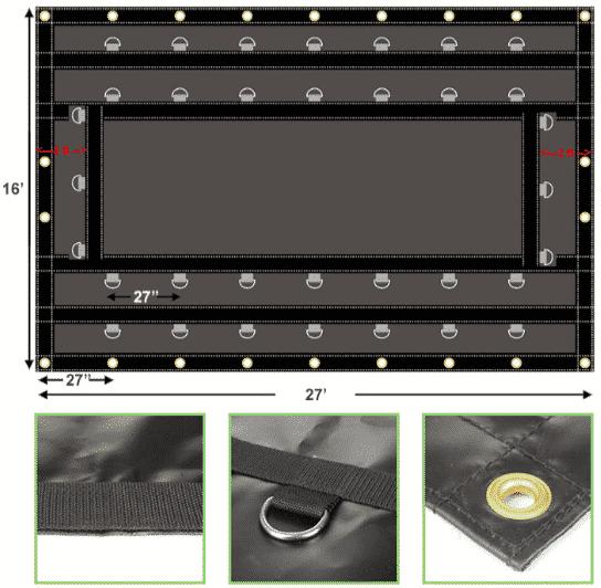 Steel Tarp 16' x 27' 18 oz Vinyl Black