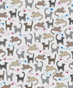Cats fabric printing