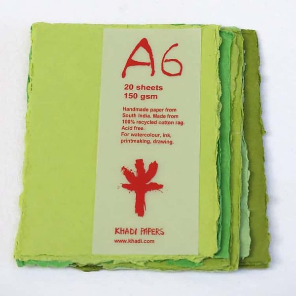 "Khadi Pack - A6GRN, 4"" x 6"" - 150 gsm"