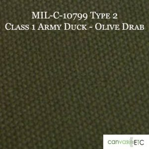MIL-C-10799 TYPE 2 CLASS 1 Army Duck Olive Drab Color