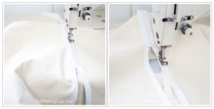 Sewing both sides of zipper onto the round storage ottoman