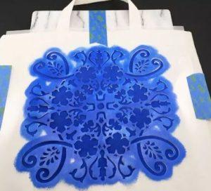 Stenciled painters bag