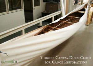 Canoe restored with 7 ounce cotton duck
